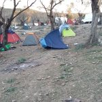 Tents in the wind in Moria, Lesvos